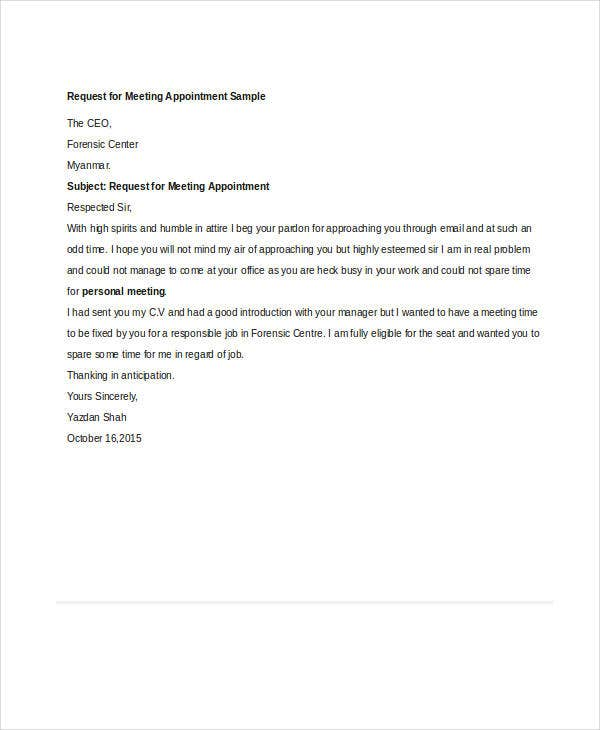 Sample Letter Format For Meeting Request. Appointment Request Letter Templates  for Business Meeting documentshub com Template 31 Free Word PDF Documents