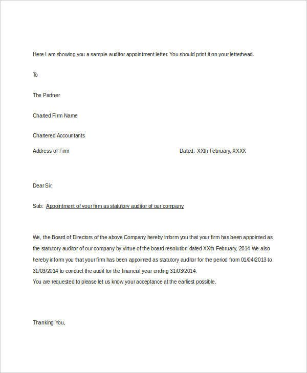 A Sample Of An Appointment Letter  BesikEightyCo