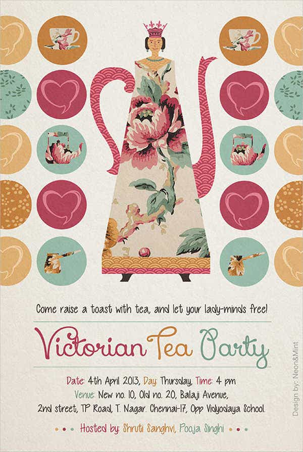 free vintage tea party invitation