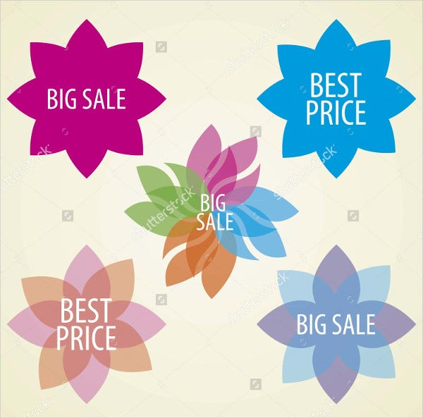 Flower Shaped Discount Label