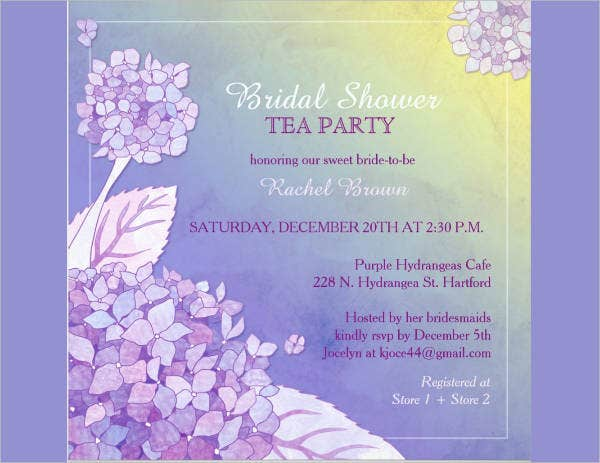 free bridal shower tea party invitation