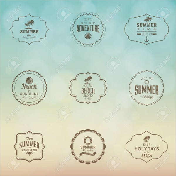 abstract summer labels