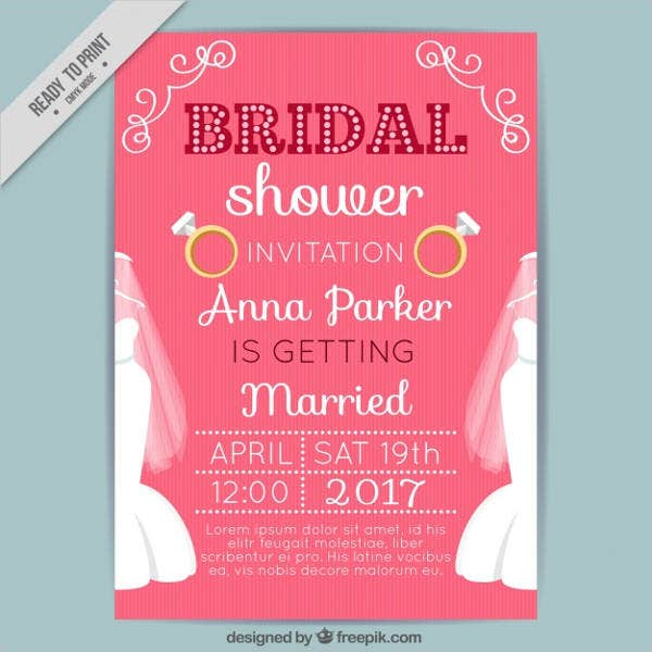 free bridal shower party invitation card