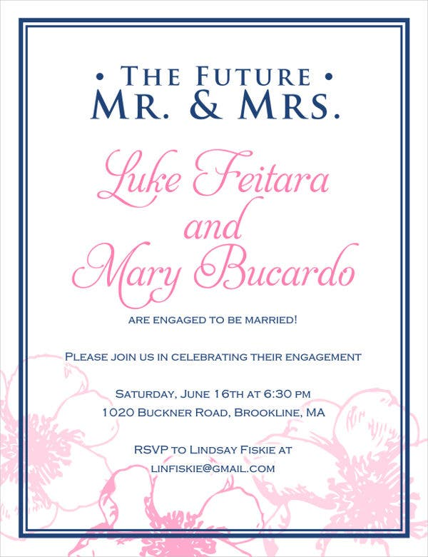 Format Of Engagement Invitation 9 Engagement Party Invitations  Free Editable Psd Ai Vector .
