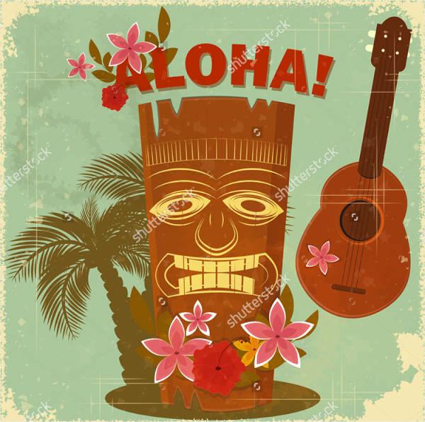vintage hawaii postcard invitation
