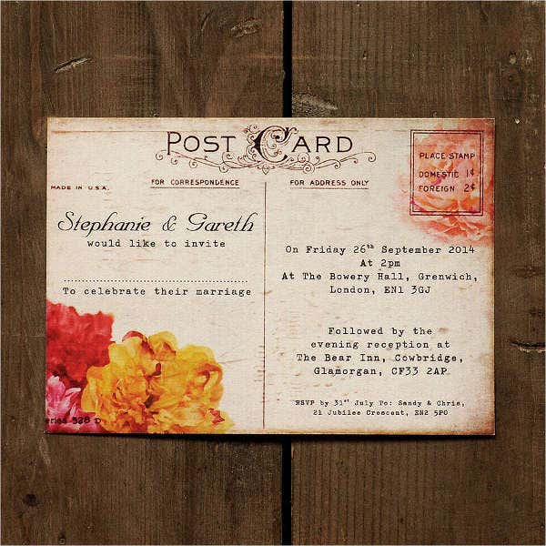 Floral Vintage Postcard Wedding Invitation