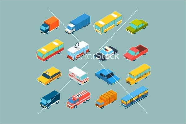 Isometric Transportation Icons Set
