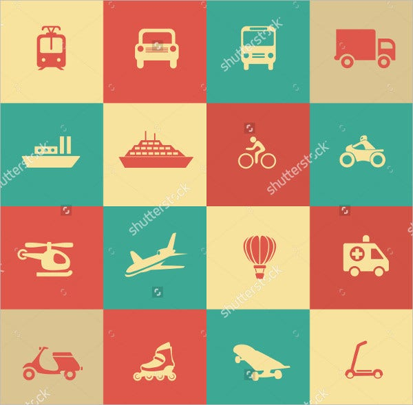 Retro Transportation Icons