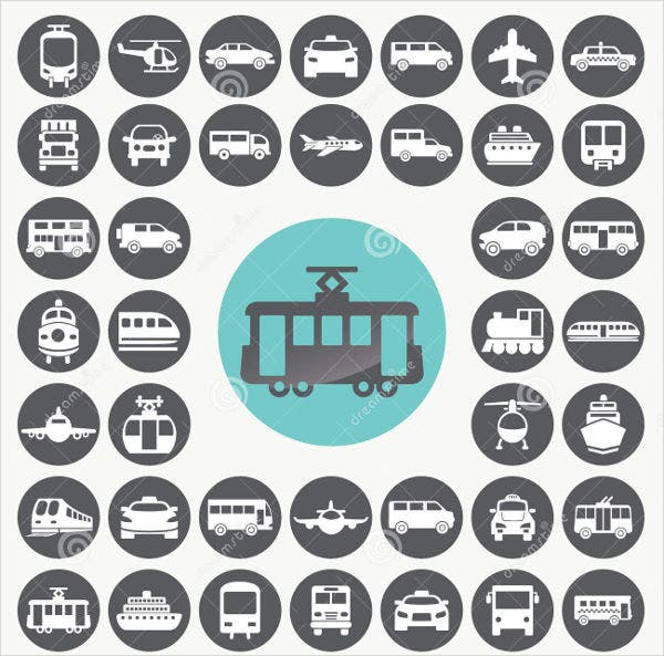 Public Transportation Icons Set