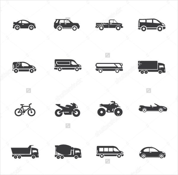 transport and vehicles icons set