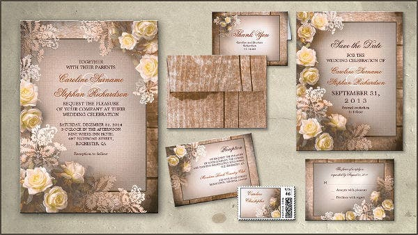 set of rustic party invitation cards