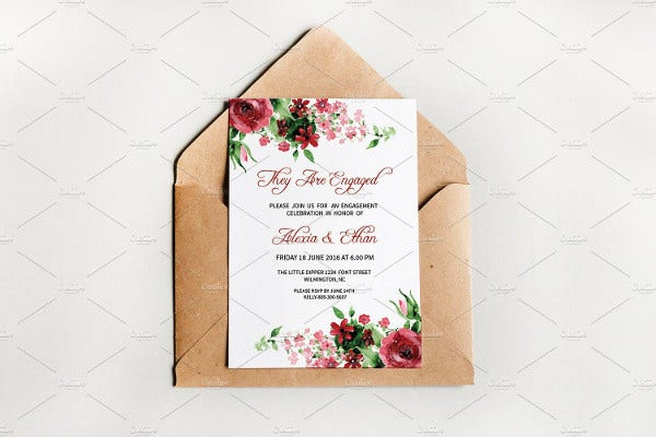 rustic floral party invitation