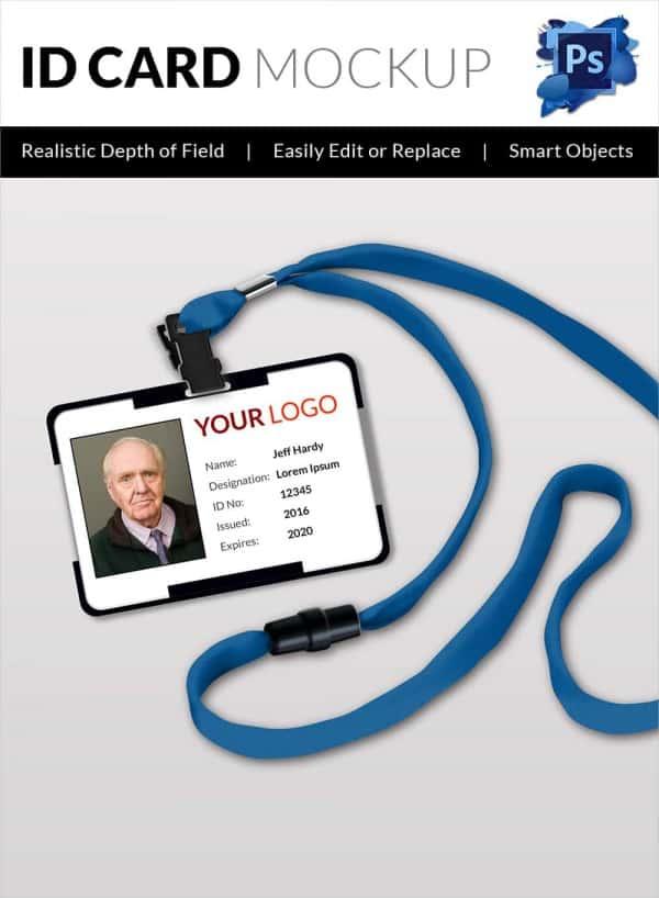 Blank Portrait ID Card Mockup