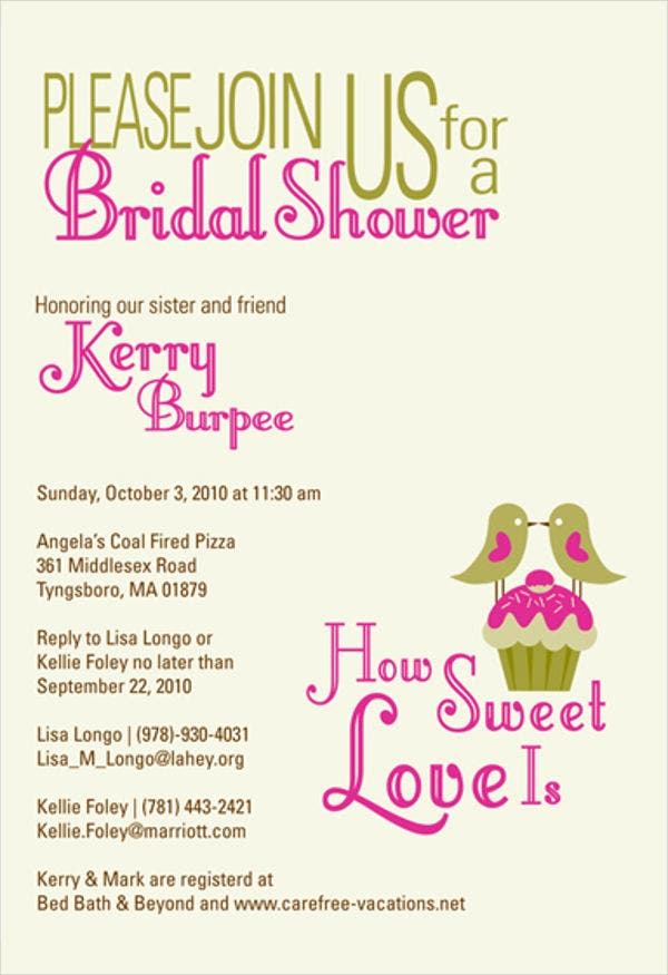 Sample Bridal Shower Party Invitation