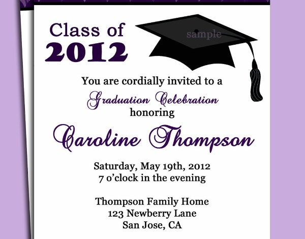 9 Dinner Party Invitations Free Sample Example Format – Graduation Dinner Invitations