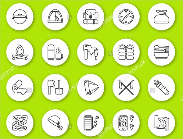 Vector Rounded Tourism Icons