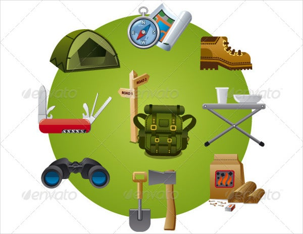 Tourism Equipment Icons