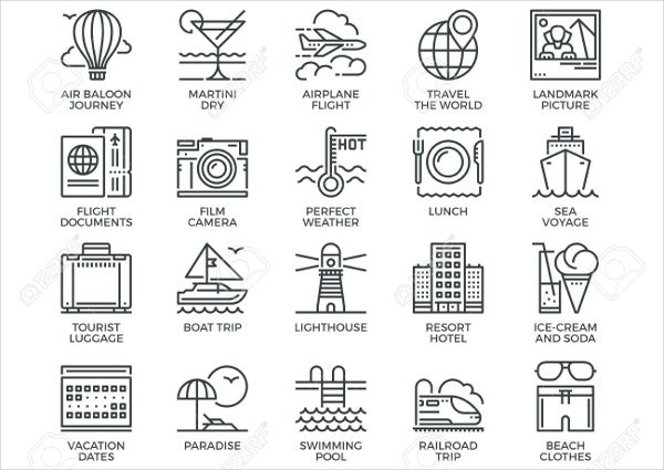 Tourism Thin Line Icons