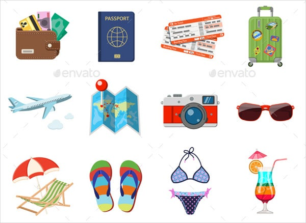 Flat Vacation and Tourism Icons Set
