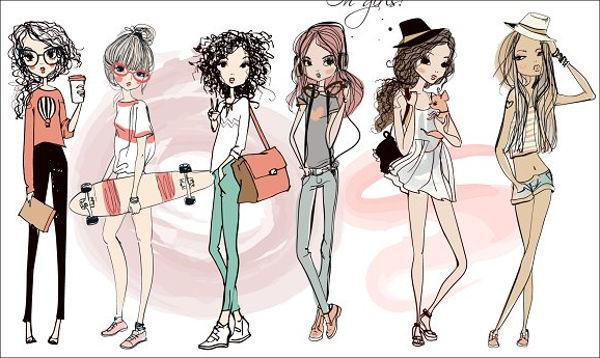 women sketch vector