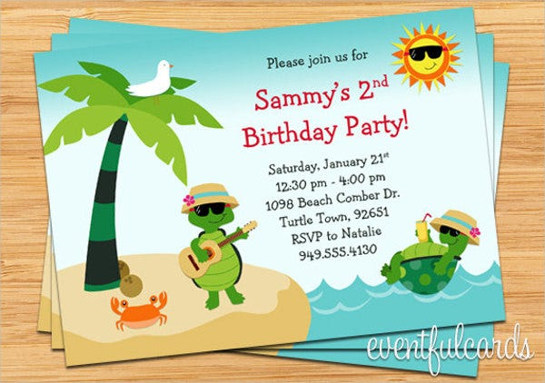 Beach Birthday Party Invitation