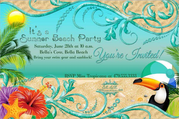 Sample Beach Party Invitation