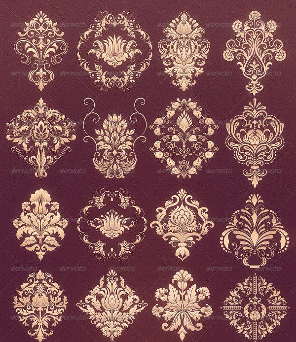 damask-ornamental-set-vector
