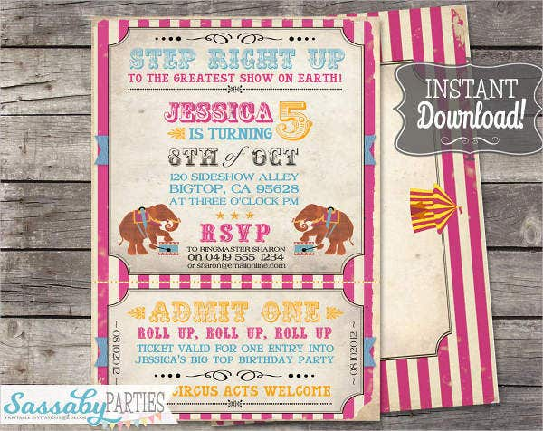 Vintage Circus Invitation Template