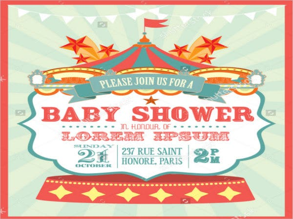 Circus Baby Shower Invitation Template