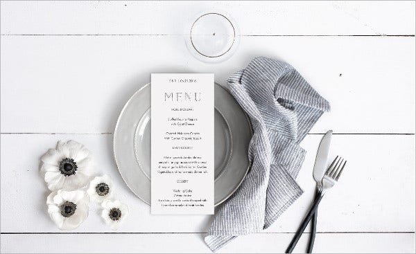 Stationery Menu Mockup
