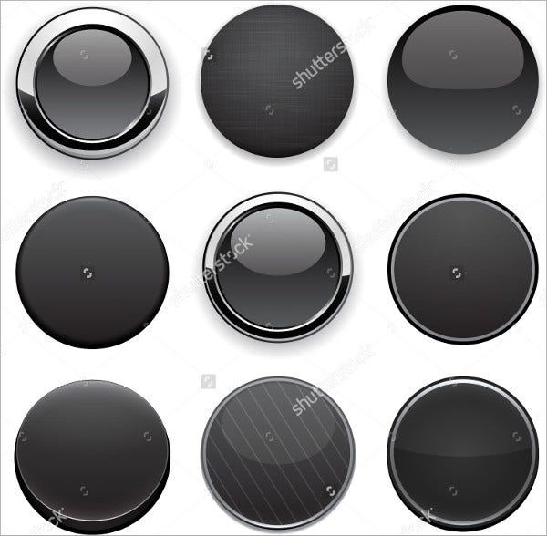blank black round button