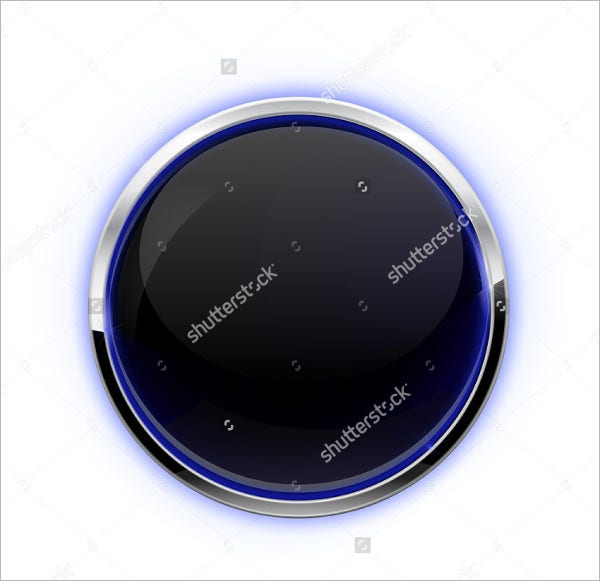 Isolated Black Glass Button