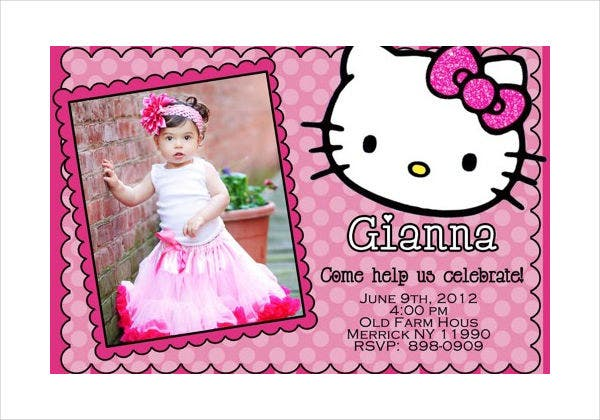 -Hello Kitty Sample Birthday Invitation Card