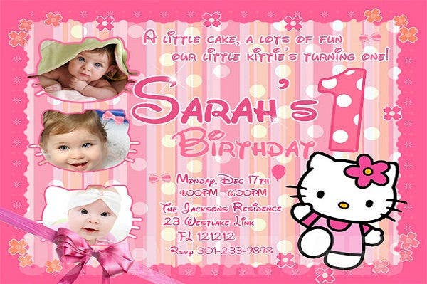 Hello Kitty Sample 1st Birthday Invitation  Birthday Invitation Samples