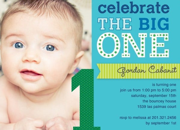 -Sample 1st Birthday Invitation Card