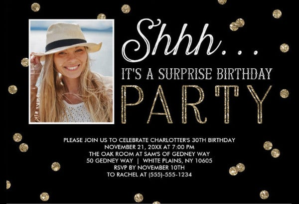 -Sample Surprise Birthday Party Invitation