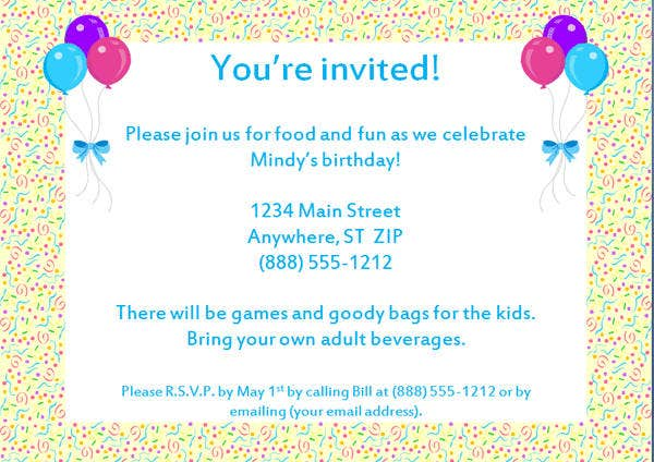 Sample Birthday Party Invitation Letter