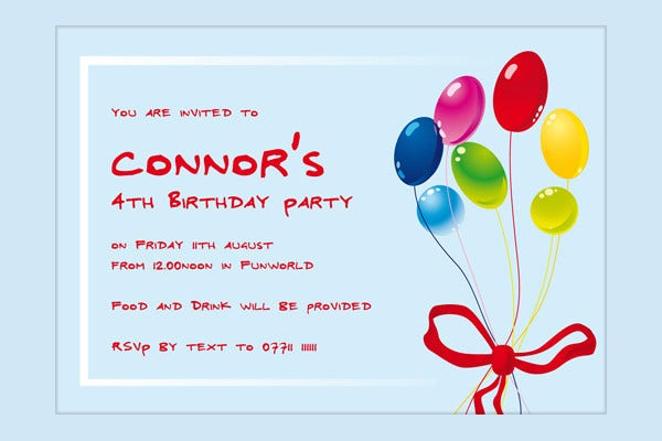 -Sample 4th Birthday Invitation Letter