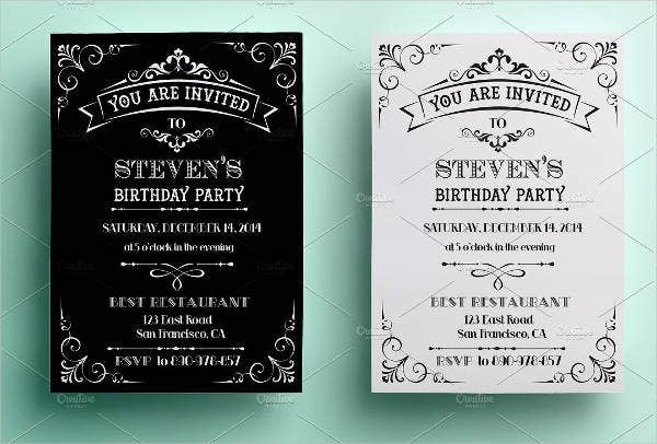 Vintage Birthday Party Invitation