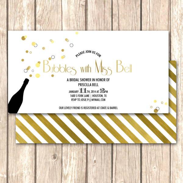 bridal shower champagne invitation