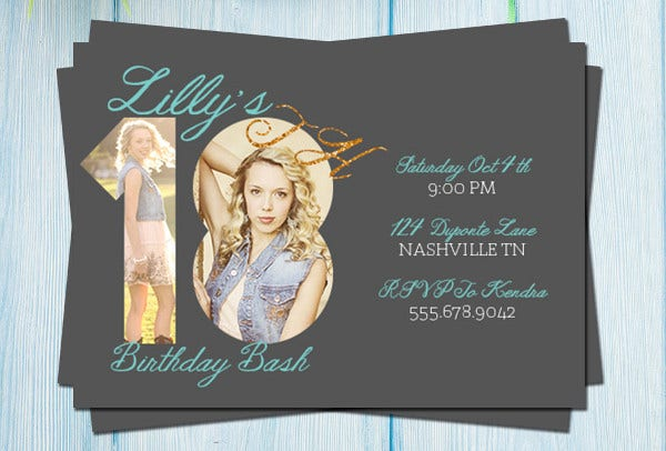 -Sample 18th Birthday Invitation Card