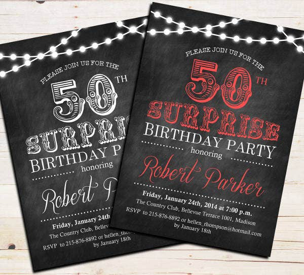 sample surprise 50th birthday invitation