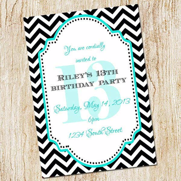 chevron birthday invitation template