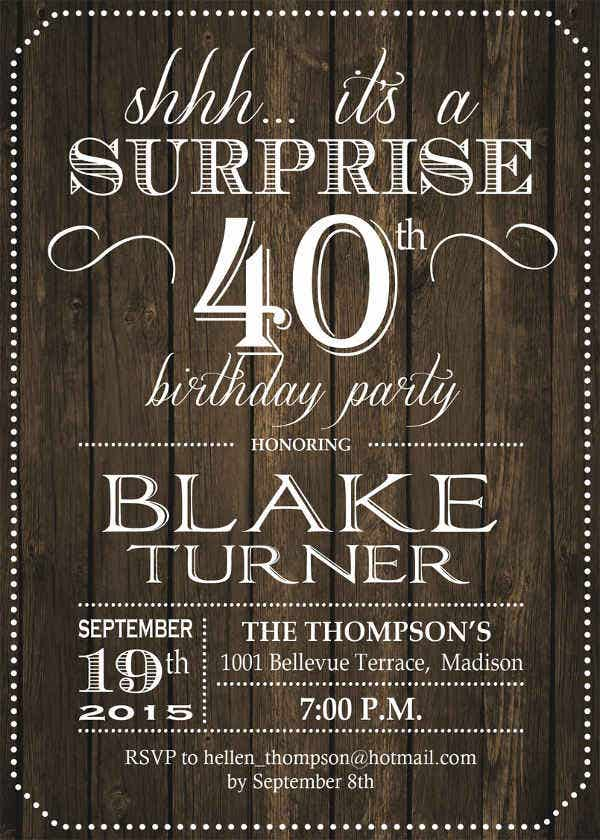 -Sample Surprise 40th Birthday Invitation