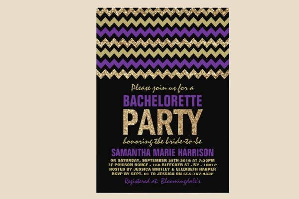 chevron bachelorette invitation template