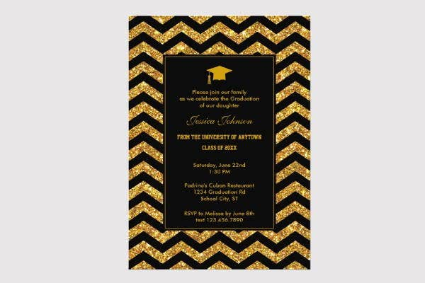 chevron graduation invitation template