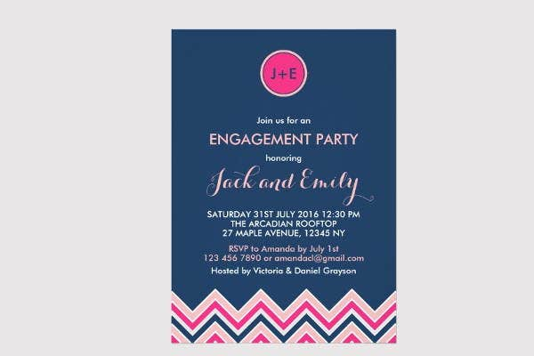 chevron engagement invitation template