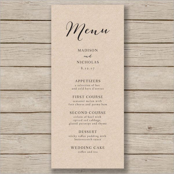Rustic menu templates 6 11 free word pdf psd eps for Menu templates for weddings