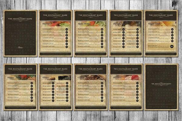 rustic food menu template
