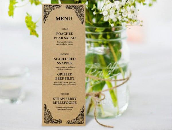 printable rustic menu template